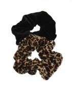 Zac's Alter Ego® Set of 2 Hair Scrunchies - 1 Velvet Leopard Print and 1 Plain Velvet