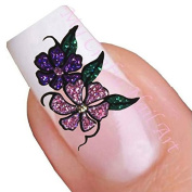 Purple & Pink Glitter Flower Adhesive Art Nail Stickers