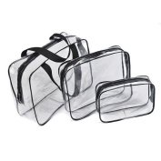 3x Clear Cosmetic Travel Bags
