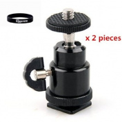 Eggsnow 0.6cm Mini Ballhead Camera Ball Head Tripod Mount With Hot Shoe Adapter for DSLR Camera (21.5)-2pcs