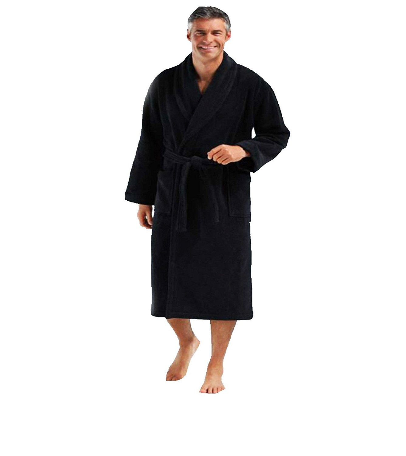 MICHAEL PAUL Mens Hooded Soft & Cosy Snuggle Fleece Dressing Gown