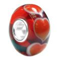 Sterling Silver Forever Endless Love Red Heart Glass Bead Charm for Pandora Chamilia Troll Biagi European Story Charm Bracelets