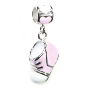 Queenberry Sterling Silver Pink Girl 3-D Boot Dangle Dangle European Bead Charm