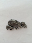 A46 Hedgehog family pin badge fine english pewter pin badge with a prideindetails gift package