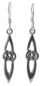 925 Sterling Silver CELTIC KNOT EARRINGS 36mm Drop Pair Scottish