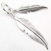 Solid Sterling Silver Native American 2 Eagle Spirit Feather Pendant Charm P047