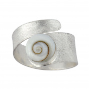 Silverly Women's .925 Sterling Silver White Shiva Eye Shell Spiral Swirl Satin Adjustable Ring