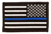 Tactical US Flag Thin Blue Line Police Law Enforcement Embroidered hook and loop patches 5.1cm high by 7.6cm wide