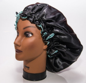 (X-Large, AQUA) New 60cm Handmade Fully Reversible - High Quality Luxuries Pure Satin Hair Bonnet Safe For All Hair Types - Most Beneficial Hair care Product Available - Royal Sensations Hair Bonnet