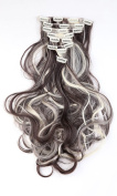 24 Inches(61cm) 8pcs Long Full Head Clip in Hair Extensions Extension Sexy Lady Fashion Choice Curly dark brown & bleach blonde