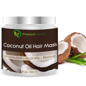 Coconut Oil Hair Mask 100% Natural Hair Care Treatment - Intensive Repair, Restores Shine & Nourishes Scalp, 240ml, By Premium Nature