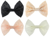 Floral Lace Bow Metal Alligator Hair Clips, Barrettes Approx. 13cm x 8.9cm , 4-Pack, Black, Beige, Light Pink & White