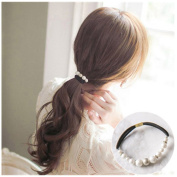 Casualfashion 6Pcs Korean Style Frosted Pearls Hair Ropes Retro Rubber Bands for Women Girls