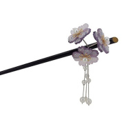 Geisha Hair Stick with Red Acrylic Cherry Blossom Cluster and Tassel
