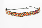 Rainbow Tri Colour Beaded Thin Headband. Indian Princess Bohemian Style Headband. Elastic Band to Fit Any Size Head. Comes with Look Guide to Show You Many Styles.