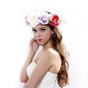 Hanmade Big Peony Adjustable Flower Wreath Headband for Wedding Festivals