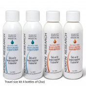 Travel Size Argan Oil Shampoo Conditioner Sulphate Free 60ml x4 Travel Set with Argan Oil,Collagen Amino Acids, Keratin Colour Safe for Men Women All Types of Hair