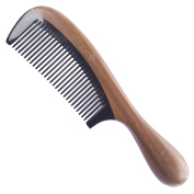 Breezelike No Static Black Buffalo Horn Fine Tooth Comb with Round Sandalwood Handle