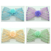 Casualfashion Pack of 4 Brand New Women Girls Rose Flower Double Clips Combs, Hand Beaded Ez Hair Styling Comb Gift