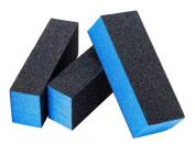 Set of 3pcs Premium Quality Nail Art Manicure Pedicure Blue Sanding / Buffing Blocks By VAGA