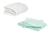 BKB Cradle Mattress Protector and 2 Gingham Sheets Combo, Green, 46cm x 90cm