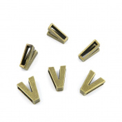 410 Pieces Jewellery Making Charms Findings Antique Bronze Brass Fashion Jewellery Wholesale Supplies Pendant Lots Bulk Supply VN001 Alphabet Letter V Loose Beads