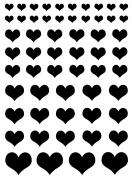 Hearts 0.6cm - 1.9cm - Black 16CC657 Fused Glass Decals
