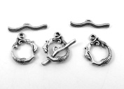 Set of Three (3) Silver Tone Pewter Mermaid Toggle End Clasps