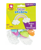 Creative Hands by Fibre-Craft - 6 Easy-To-Make Foam Glitter Rainbows - Arts and Crafts - No Scissors or Glue Required - For Ages 3 and Up