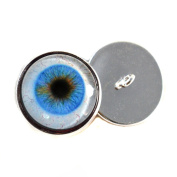 Realistic Human Glass Eyes With Loops 16mm Glass Eye Cabochons for Fantasy Art Doll Stuffed Animal Soft Sculptures or Jewellery Making Crafts Set of 2