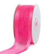 Creative Ideas, 3.8cm Organza with Satin Edge Ribbon, 25 yd, Hot Pink