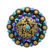 Coloma Gold Rhinestone Crystal Berry Concho - Crystal Scarabaeus Green - 2.5cm