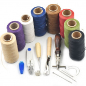 Bluemoona 7Pcs - Leather Carft Hand Stitching Sewing Tool Kit Thread Awl Waxed Thimble Blue