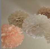 Sorive® 12PCS White Peach Tan Tissue Paper Pom Poms Pompoms Flower Balls Wedding Birthday Party Shower Centrepiece Home Decoration