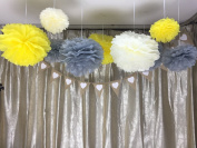 Sorive® 12 Mixed Ivory Grey Yellow Tissue Paper Flower Pom Poms Pompoms Wedding Birthday Anniversary Party Christmas Girls Room Decoration