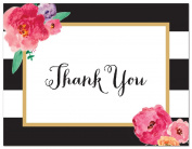 50 Black Stripes Watercolour Floral Thank You Cards