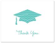 50 Cnt Chevron Graduation Cap Thank You Cards