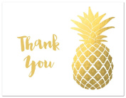 50 Modern Yellow Gold Colour Pineaple Thank You Cards