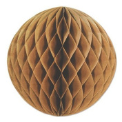 Pack of 12 Natural Brown Kraft Honeycomb-Cut Tissue Ball Hanging Decorations 30cm