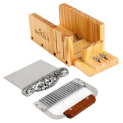 Soap Cutter Tools Set-3 Multifunction Adjustable Wood Loaf Cutting Box Stainless Steel Wavy & Straight Blade