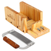 Soap Making Supplies Set of 2 ,Stainless Steel Wavy & Adjustable Wood Loaf Cutter Box Cutting Tools Kit