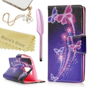LG K7 Case,LG Tribute 5 / LG M1 Case - Mavis's Diary Fashion Colourful Wallet PU Leather Magnetic Flip Cover with Card Holders & Soft TPU Inner Case Bling Butterfly Pattern with Dust Plug & Stylus