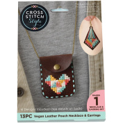 Faux Leather Pouch W/Chain Punched For Cross Stitch Kit-