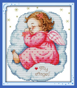 YEESAM ART® New Cross Stitch Kits Advanced Patterns for Beginners Kids Adults - Asleep Angel Baby Girl 11 CT Stamped 28×35 cm - DIY Needlework Wedding Christmas Gifts