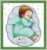 YEESAM ART® New Cross Stitch Kits Advanced Patterns for Beginners Kids Adults - Asleep Angel Baby Boy 11 CT Stamped 33×35 cm - DIY Needlework Wedding Christmas Gifts