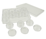 Duttek 12 Pieces 5g Round Plastic Storage Container Box Set Super Clear Accessories Organiser Box for Beads Crafts Findings Other Small Items 2.5cm Round