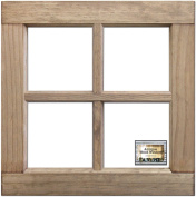 Salvaged 4-Pane Wood Window Frame-Weathered Wood 41cm x 41cm X1.60cm