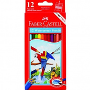 Faber-Castell 12 Watercolour Pencils, 12 Colour Pencils + Sharpener + Paint Brush