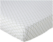 100% Cotton, Dove Grey Trellis Crib Sheet, 130cm x 70cm