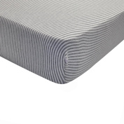 Heather Grey, Super Soft, Pesticide-Free, Fitted Crib Sheet in Classic Stripe